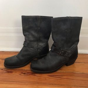 Frye distressed leather moto boots